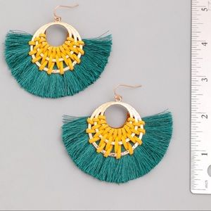 Jewelry - NEW! Emerald Mustard Hoop Tassel Hoop Earrings